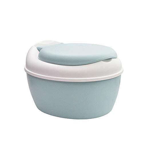 3-in-1 Potty Soft Seat Toilet Trainer and Step Stool White with Pastel Blue Multi-Stage Seat Chair