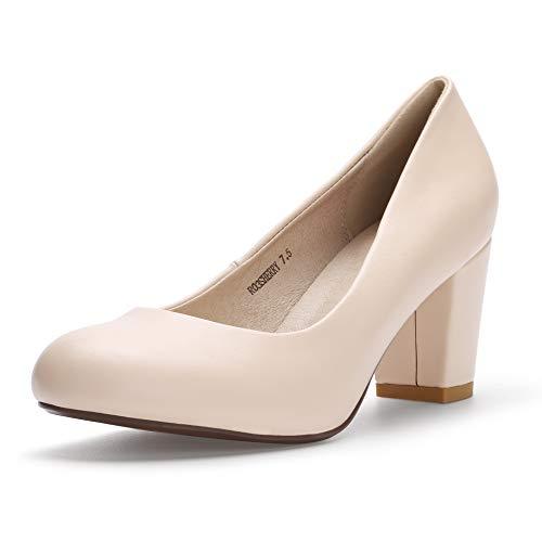 IDIFU Women's RO3 Sherry Classic Closed Round Toe Medium Chunky Block Heels Wedding Dress Office Pumps Shoes (5.5 M US, Nude Pu)