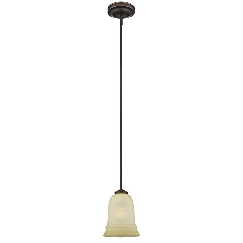 Westinghouse Lighting 6343100 Montrose One-Light Adjustable Indoor Mini Pendant, Oil Rubbed Bronze Finish with Highlights and Mocha Scavo Glass