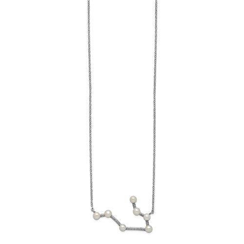 Sterling Silver Rhod-plat 7 3-4mm Fwc Pearl Gemini With 1inch Ext. Necklace - 17 Inch