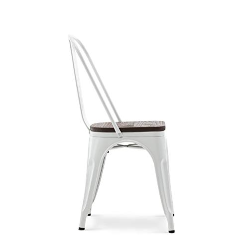 Belleze 014-HG-14085WD-WH Dining Side Chairs Steel High Back, White by Belleze (Image #2)