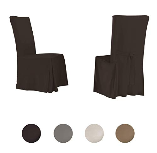 Serta | Relaxed Fit Smooth Suede Furniture Slipcover for Dining Room Chair (Set of 2), Long Skirt (Chocolate)