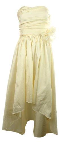 Pleated High-Low Strapless Taffeta Dress (0, Ivory) ()