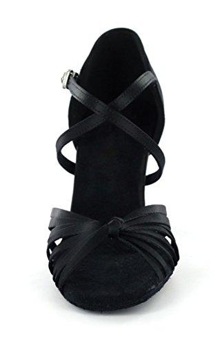 Tda Dames Enkelband Knoop Satijn Salsa Tango Ballroom Latin Moderne Dans Trouwschoenen Zwart