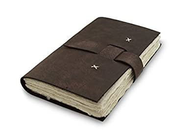 Nepali Traveler Journal with Handmade Lokta Paper and Water Buffalo Leather. Made in Nepal.