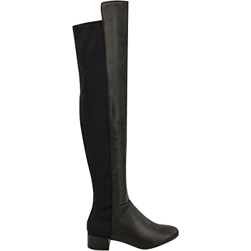 Womens Stretch Knee Black Fashion Boots The Flat Over Thigh Calf High Faux Thirsty Size Leather Riding 1xwAq5z