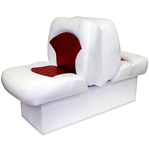 Overton's Premium Back-to-Back Lounge Seat White/Red (Pontoon Lounge)
