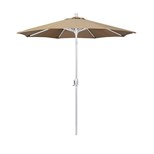- California Umbrella 7.5' Round Aluminum Market Umbrella, Crank Lift, Push Button Tilt, White Pole, Terrace Sequoia Olefin