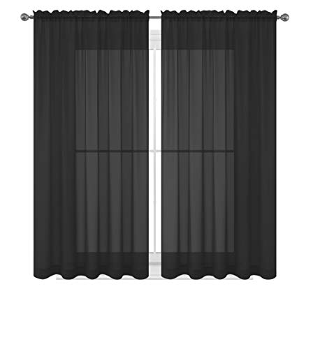 WPM  60 x 63-Inches Sheer Window Elegance Curtains/drape/panels/treatment, Black