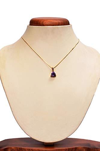 Beautiful Trillion Shape Amethyst Pendant Chain 18 Kt Gold