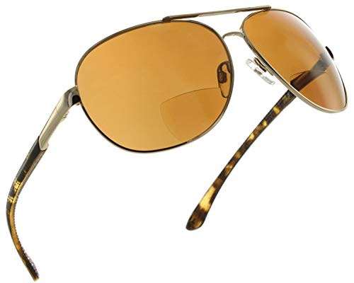 Fiore Aviator Polarized Bifocal Reading Sunglasses Readers for Men and Women [Gold, 2.00]