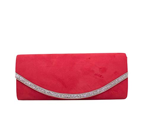 Black Red Clutch Decoration for Bag Diamante Ladies Diva Haute xpS8q0Aa