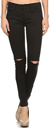 Vialumi Women's Distressed Destroyed Ripped Slashed Slit Knee Skinny Jeans