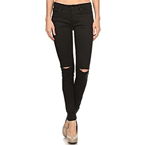 Vialumi Women's Distressed Destroyed Ripped Slashed Slit Knee Skinny Jeans