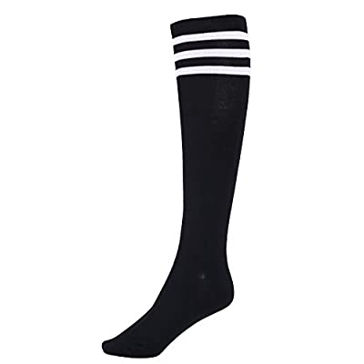 Women's Black Knee High Striped Socks with Three White Stripes at  Women's Clothing store