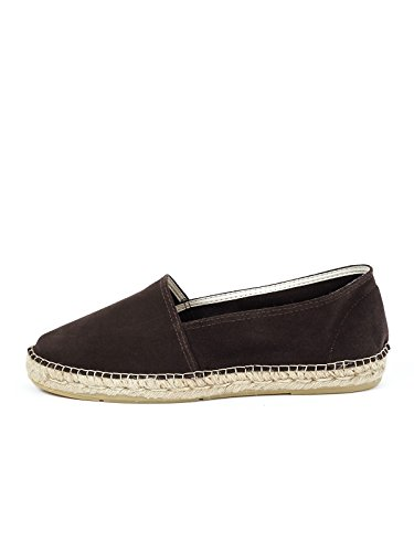 ESPADRIJ L'ORIGINALE Womens Classic Velour Suede Leather Espadrilles Brown