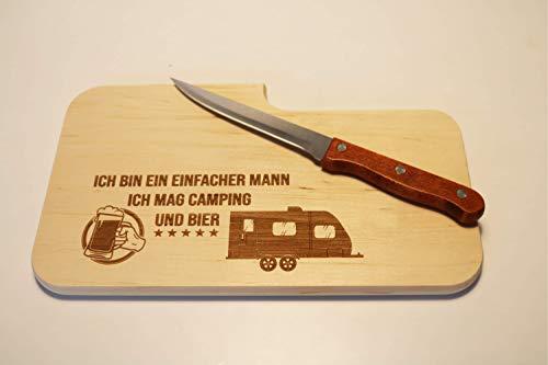 31Yl 5eVQFL Beschdstoff/Schneidebrett mit Messer/Camping und Bier/Größe 26 x 15 x 12 cm Wohnwagen Motiv