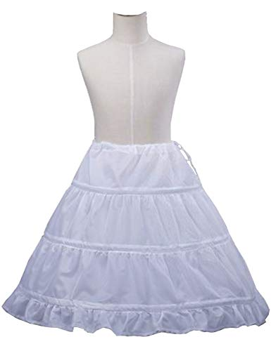 MuchXi Flower Girl Girls' 3 Hoops Petticoat Puffy Full Slip Kids Crinoline Swing Skirt White -