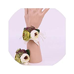 Berries Rose Bridesmaid Sisters Hand Flowers Wedding Party Bridal Prom Artificial Succulent Bridal Wrist Corsage Bracelet 73