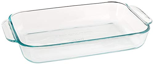 (Pyrex SYNCHKG055786 Basics 2 Quart Glass Oblong Baking Dish, Clear 11.1 in. x 7.1 in. x 1.7)
