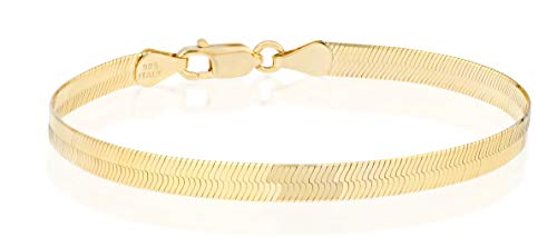 "MiaBella 18K Gold Over 925 Sterling Silver Italian Solid 4.5mm Flat Herringbone Chain Bracelet Men Women 6.5"" 7"" 7.5"" 8"" (7.5)"