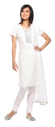 In-Sattva Colors Women's Indian Salwar Kameez Set Ivory Large