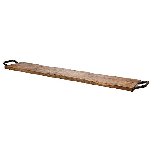 Godinger Wood Serving Tray, Charcuterie Platter Cheese Board with Metal Handles - 40 inch (Handles Metal Tray With Wooden Serving)