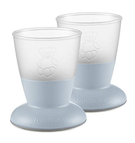 BABYBJÖRN Baby Cup2 Peice Pack, Powder Blue (Best Open Cup For Baby)