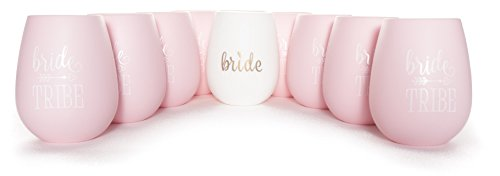 10 PIECE SET of 9 Pink Bride Tribe and 1 Bride Silicone Stemless Wine Cups for Bachelorette Parties, Weddings and Bridal Showers
