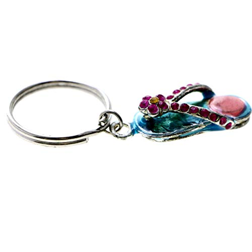 Flower Flip-Flop Split-Ring-Keychain Blue/Pink