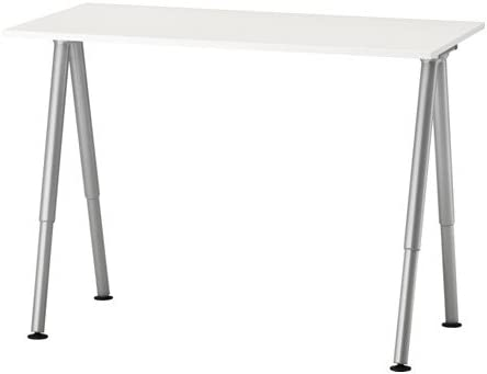 Ikea Thyge - Escritorio ajustable, color blanco, plata, con ...