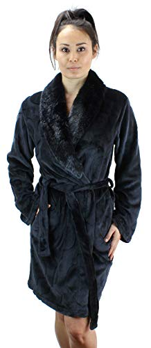 Ms Lovely Women's Warm Fleece Robe with Faux Fur Collar - Black Medium