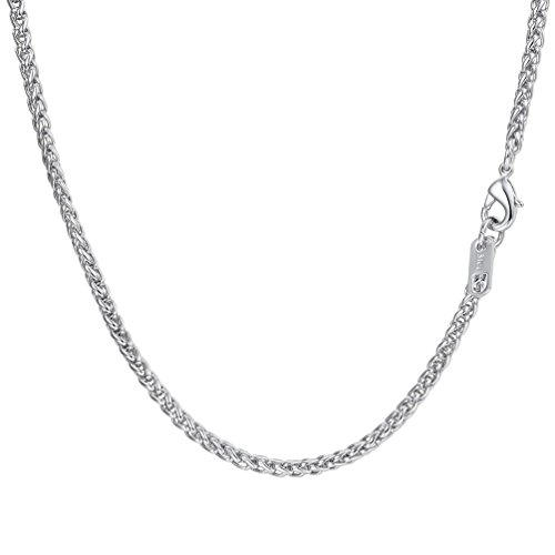 - PROSTEEL Stainless Steel Wheat Braided Chain Link Necklace Twisted Chain Foxtail Chain Woven Chain Men Women 3mm Simple Chain