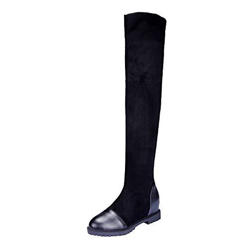 Neige Boots Bottes Noir Femme Party Hautes Chaussures Knee 43 Longue Equitation Cuir Hiver Boucle De Fermeture Manadlian Biker Eclair 35 daSgxXqX