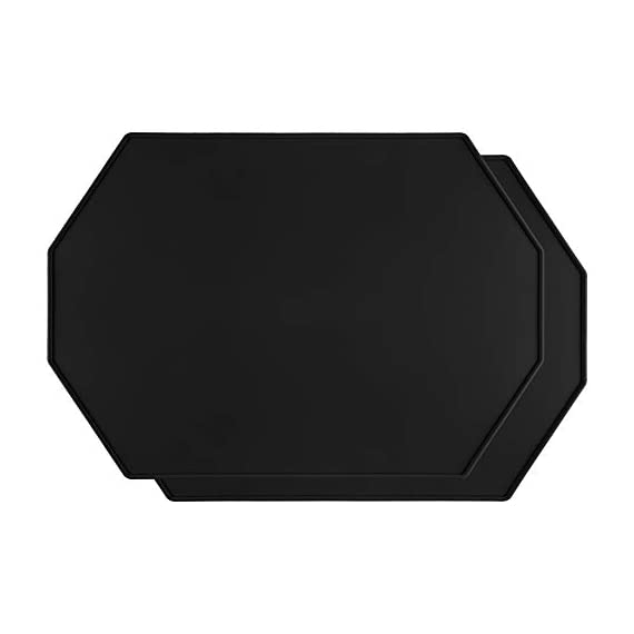 Lazy K Silicone Placemats - Octagon with Raised Edges - Non Slip Waterproof Silicone Mat - Simple Modern Design - Heat-Resistant Kitchen Table Mats - Black (Set of 2) - ECO-FRIENDLY - Hygienic and food-grade. Made with 100% silicone and BPA free SGS certified HIGH QUALITY - Placemats are sturdier than other thin placemats while remaining incredibly flexible. Grips well to most surfaces MODERN DESIGN - Simple and modern design and soft colors that compliment any wood or marble table or countertop. Raised edges help to prevent spills - placemats, kitchen-dining-room-table-linens, kitchen-dining-room - 31Yl5gHSrdL. SS570  -