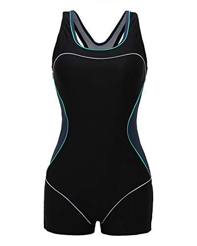 ReliBeauty Women's Boy-Leg One Piece Swimsuit, Black-2, M 4-6 4 One Piece Swimsuits