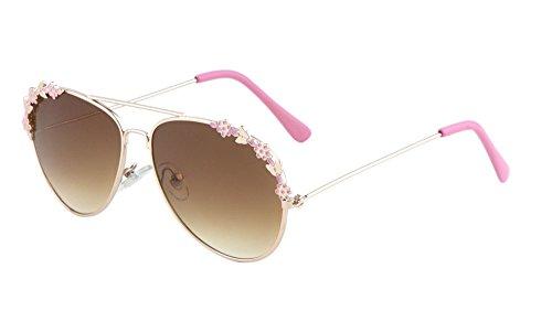 Kids Girls Aviator Sunglasses Flowers Metal Frame (Pink/Flowers, (Sunglasses Flower)