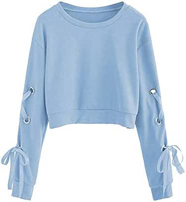 Women's Casual Lace Up Long Sleeve Crop Top Solid Teen Girl Sweatshirts Pullover Tie Chic Tops Blouses Jumper