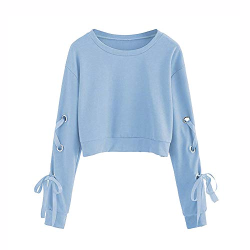 - UONQD Women Sweater Lace Up Pullover Crop Crop Tops Blouse Sweatshirt SmallSkyBlue