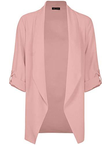 Michel Womens Open Front Blazer Casual 3/4 Roll UP Sleeve Cardigan Blazer Rose Medium