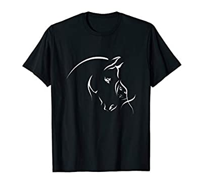 Silhouette Of The Girl And Horse T-Shirt For Men Women Girls