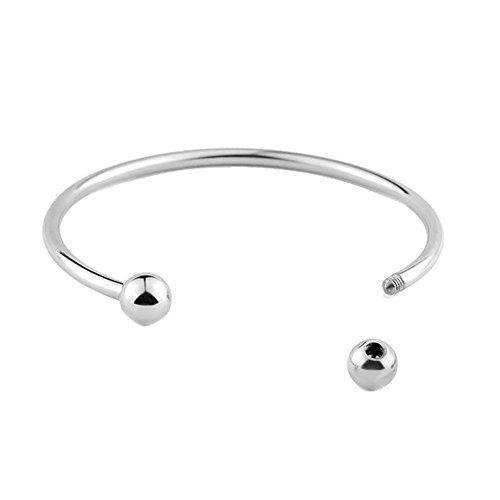 - Girls' Cuff Bracelets Smooth Round Torque Bangle Stainless Steel DIY Jewelry for Charms Beads