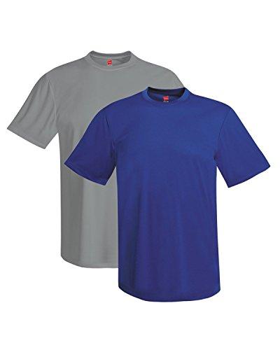 Hanes mens 4 oz. Cool Dri T-Shirt(4820)-Deep Royal/Graphite-L