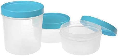 TATAY 1169400 Set de 3 contenedores de alimentos herméticos con cierre a rosca y medidor. Tapa Azul, Libre de BPA, 1 x 1L, 2 x 0,5 L