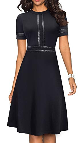 HOMEYEE Women's Chic Crew Neck Party Homecoming Aline Dress A135 (6, Black-Short Sleeve)