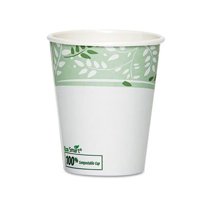 Dixie EcoSmart Hot Cups, Paper w/PLA Lining, Viridian, 10 oz., 50/Pack