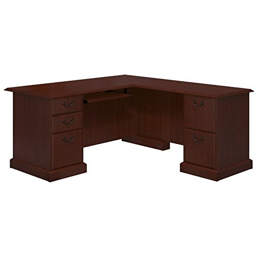 (kathy ireland Home by Bush Furniture Bennington L-Desk in Harvest Cherry)