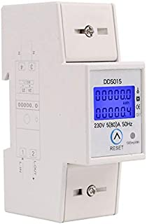 REFURBISHHOUSE Misuratore di potenza wattmetro monofase su guida din Watt Contatore di energia elettronico kWh 5-80A 230V AC 50Hz con funzione di reset