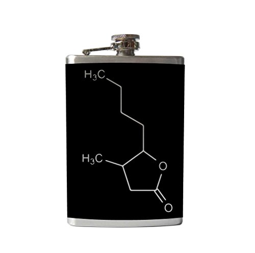 Whiskey Molecule Flask | Chemical Compound | Vinyl Wrapped Flask (8 Ounce Flask, Black)