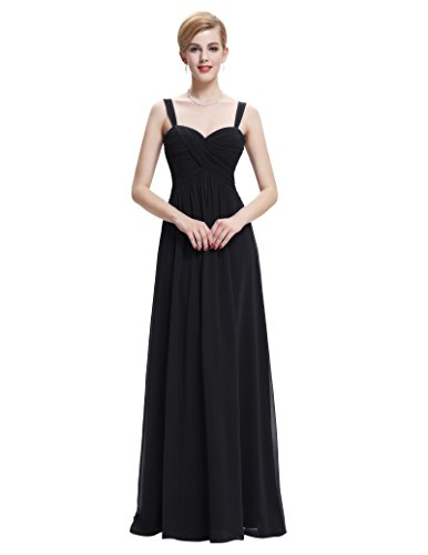 Belle Poque Black Strapless Chiffon Bridesmaid Dresses Evening Party Dresses Size 14 ST65 - Empire Sweetheart Sleeveless